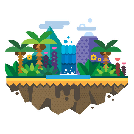 Uninhabited island jungle. Tropical landscape with a waterfall and palm trees. Vector flat illustration Ilustração
