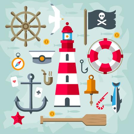 barco pirata: Conjunto de elementos náuticos Retro vector plana vintage. Faro.