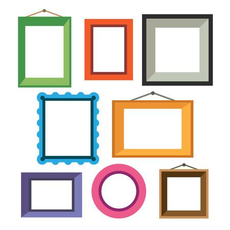 marco madera: Vector conjunto de diferentes marcos de fotos de colores en estilo plano