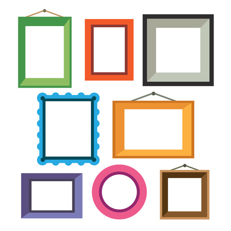 vintage wall: Vector set of different colorful photo frames in flat style