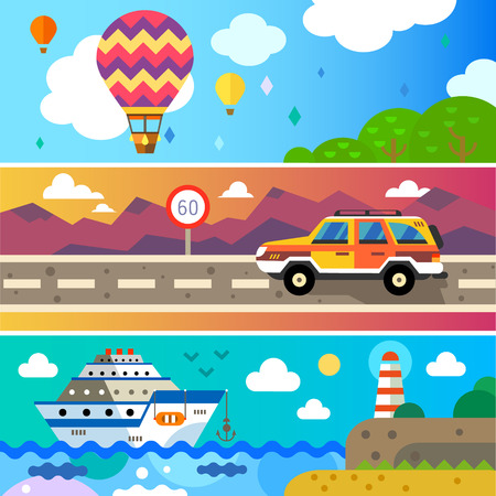 symbol tourism: Travel by land sea and air. Balloon Jeep Ship. Landscapes with mountains and sea. World of discovery. Vector flat illustrations and background