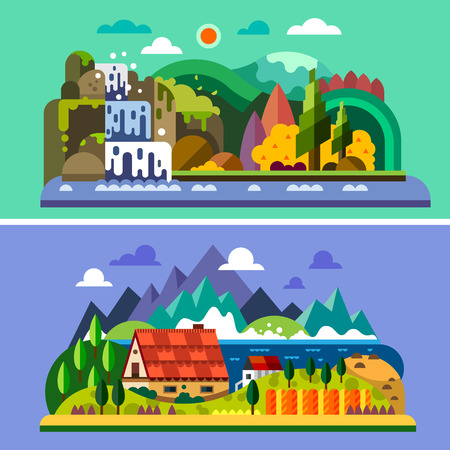 Village landscape: house in mountains river sea waterfall forest. Vector flat illustrations Vettoriali