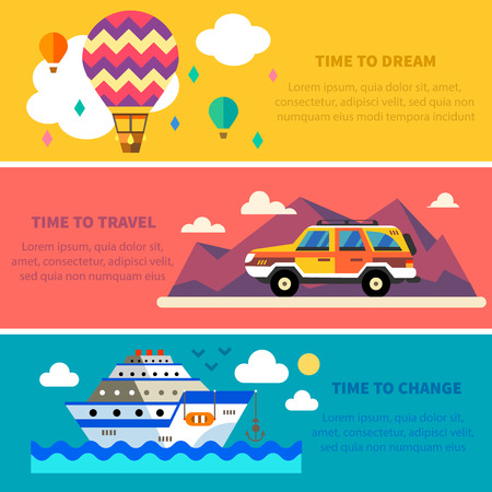 Vector flat traveling set. Travel by land sea and air. Balloon Jeep Ship. Landscapes with mountains and sea. World of discovery. Vector flat illustrations and background Çizim