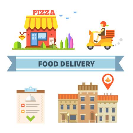 Food delivery. Restaurant cafe pizzeria. Vector flat illustration