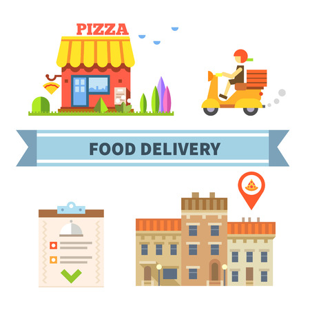 Voedsel bezorging. Restaurant cafe pizzeria. Vector flat illustratie Stock Illustratie