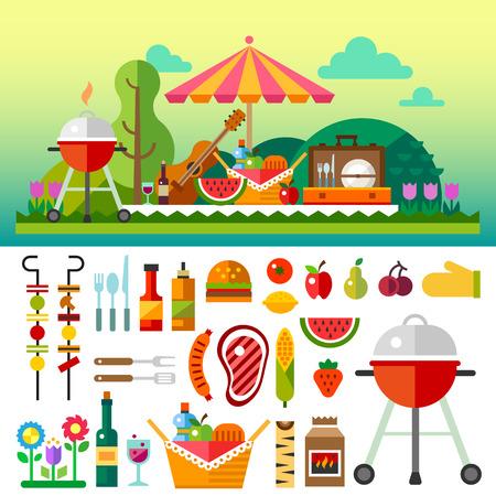 Nyári piknik rét virággal: esernyő gitár kosár élelmiszer gyümölcs grill. Vektor lapos illusztrációk és sor elem