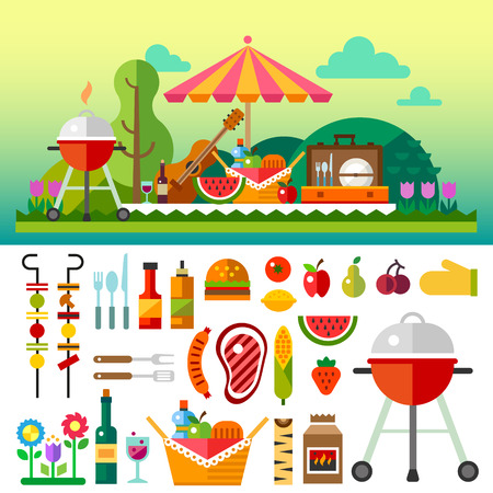 party animals: Summer picnic in meadow with flowers: umbrella guitar basket with food fruits barbecue. Vector flat illustrations and set of element