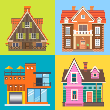 english village: Various buildings house: modern house cottage wooden country house English brick mansion. Vector flat illustrations