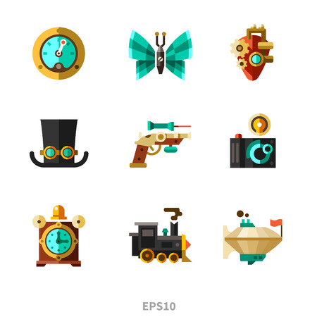 steampunk: Steampunk elements. Vector flat icons