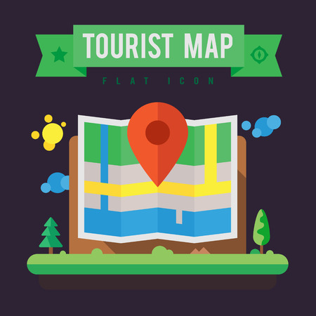 Tourist map. Navigation and search locations. Vector flat illustration.