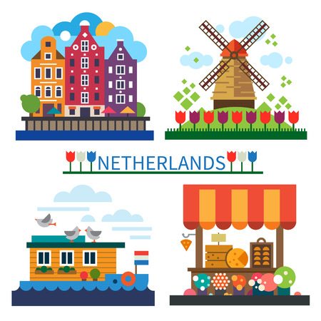 Welcome to Netherlands: windmill on field with tulips old houses houseboat cheese market. Vector flat illustrations. 일러스트