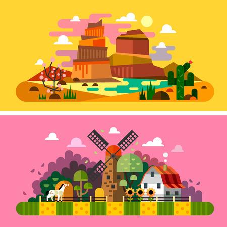 granja: Paisajes Sunset Village: Barranca del desierto arbustos campo edificios de la granja del molino de cactus �rboles heno. Paisajes de Am�rica del Salvaje Oeste. Ilustraciones y fondos planos vectoriales