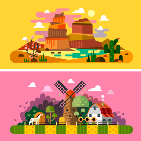 desert sun: Village sunset landscapes: canyon desert cactus mill farm buildings trees field bushes hay. Landscapes of America Wild West. Vector flat illustrations and backgrounds