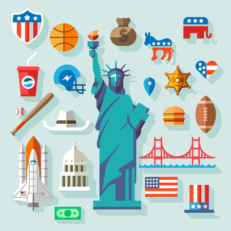 USA Symboly mnoho vektorové ploché ikony Ilustrace