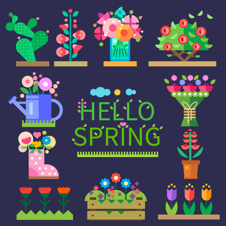 Spring mood. Flower shop. Hello spring and summer. Tulips cactus roses peonies. Vector flat illustrations icons and sprites for game Illustration