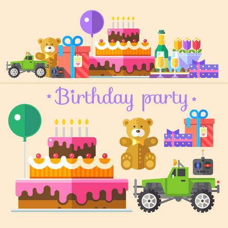 shopping champagne: Vector color flat illustrations holiday birthday party: gifts bows teddy bears toy car remote control balloons cake candles candy drink champagne glasses a bouquet of flowers