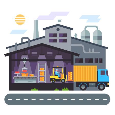 Construcción de almacenes. producción. Vector ilustración plana Vectores
