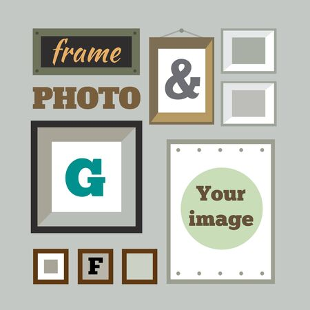 Vector set of different colorful photo frames in flat style: green red blue orange pink. Retro frames. Vector flat illustrations. Vector