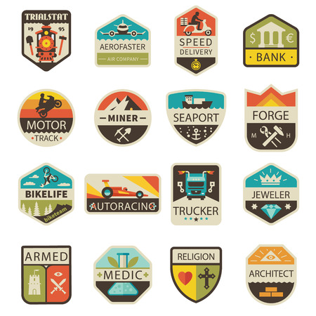 Vintage and badges. Professions and Transportation. Vector flat logo set