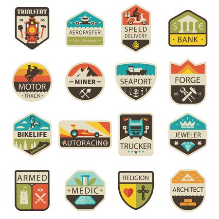 arquitecto: Vintage y insignias. Profesiones y transporte. Vector plana Conjunto de la insignia Vectores