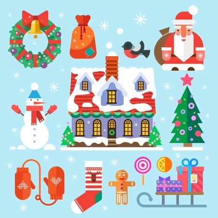 Symbolen van Nieuwjaar en Kerstmis. Kerstman zak geschenken snoep huis decoraties krans kerstboom snowman wanten sokken goudvink sneeuwman. Vector vlakke pictogrammen en illustraties
