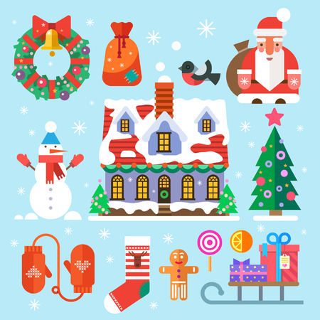 snowman vector: Symbols of New Year and Christmas. Santa Claus bag gifts sweets house decorations wreath Christmas tree snowman mittens socks bullfinch snowman. Vector flat icons and illustrations