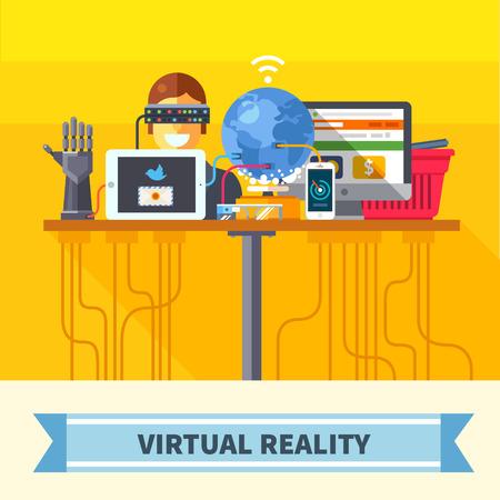 Réalité virtuelle. Les nouvelles technologies et sur les achats en ligne. Les systèmes mobiles et informatiques. Appareils. Vector illustration plat Vecteurs