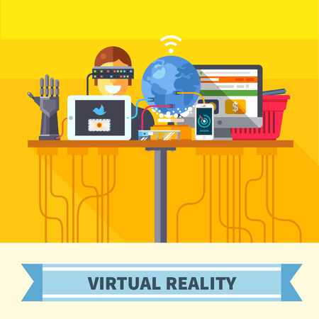 VIRTUAL REALITY: Virtual reality. New technologies and on line shopping. Mobile and computer systems. Devices. Vector flat illustration