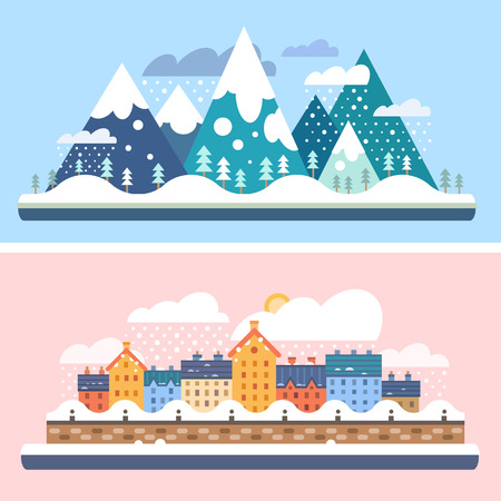 Winter nature. Mountains with snow and city embankment landscapes. Christmas time. Vector flat illustrations Çizim