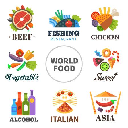 Mundial de los alimentos: la carne de pollo verduras pescado asia alcohol dulces italianos. Vector conjunto plana Vectores