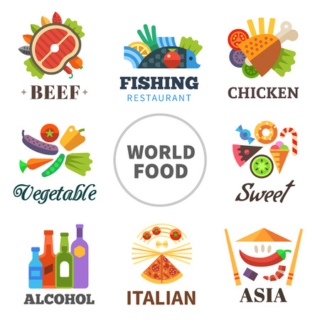 food and beverages: World of food: meat fish chicken vegetables asia alcohol Italian sweets. Vector flat set Illustration