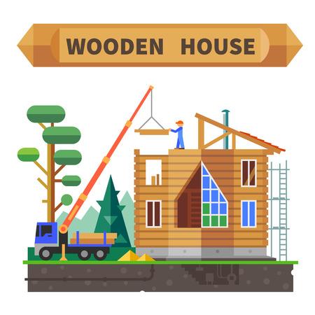 Houten huis in het bos. Bouwproces. Vector flat illustratie. Stock Illustratie