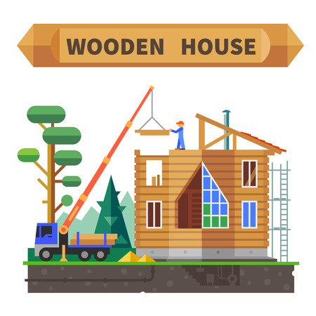 construction industry: Wooden house in the forest. Construction process. Vector flat illustration.