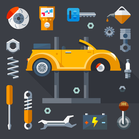 auto service: Vector flat icons and illustrations repair of machines and equipment