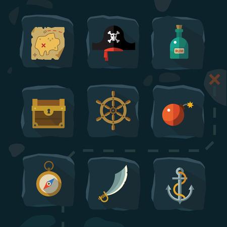 sombrero pirata: Iconos planos de color de vector y la aventura pirata ilustraciones: oro ron sombrero tarjeta cala mar timón ancla bomba espada brújula en el pecho Vectores