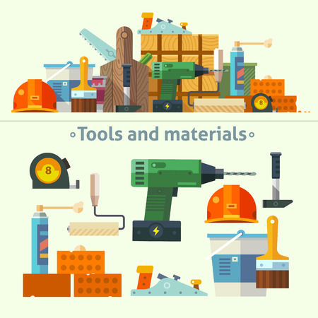 Vector color flat illustrations tools and materials for the repair and construction: paint bucket brush wooden box screwdriver saw drill roller tape measure wood bricks foam hammer helmet