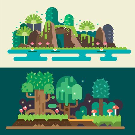 열대 숲 풍경 : 돌, 호수, 꽃, 나무, 잔디, 관목 버섯. 마법의 자연. 게임의 배경. 벡터 평면 그림