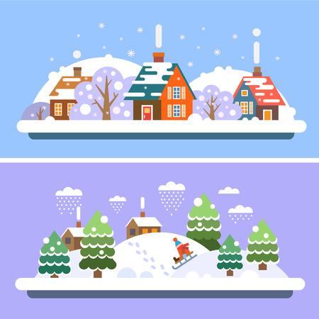Зимняя деревня пейзажи. Дом и лес. Катание на санках. Снегопад. Вектор плоские иллюстрации