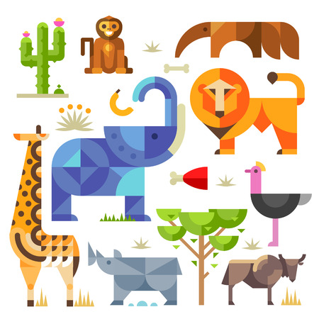 zoo: Geometric flat Africa animals and plants including elephant lion monkey giraffe rhino ostrich anteater hyena cactus