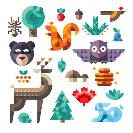 Vector set of cute flat various forest icons geometric proportions. Forest animals contain owl deer squirrel rabbit.