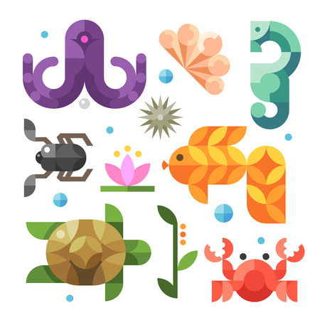 under the sea: Color vector flat icons
