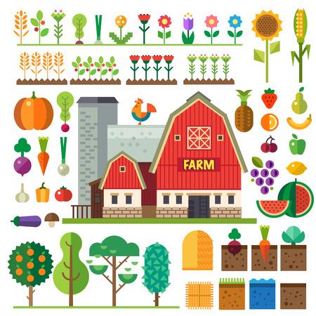 農場村。元素的遊戲:精靈和瓦套。床花木蔬菜水果乾草農場建築。矢量插圖平