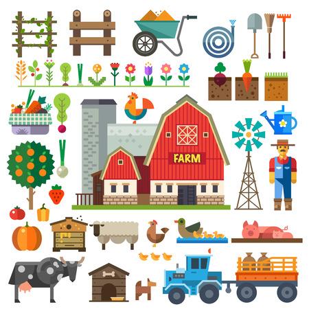 마을 농장. 게임 요소 : 스프라이트와 타일 세트. 침대 나무 꽃, 야채, 과일, 건초 농장 건물 동물 농부 트랙터 도구. 벡터 평면 그림