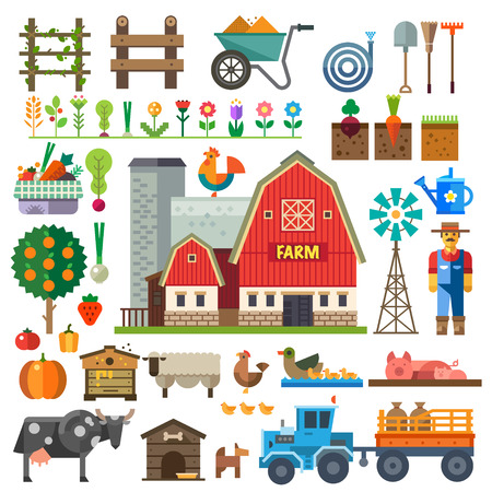 Farm in village. Elements for game: sprites and tile sets. Beds tree flowers vegetables fruits hay farm building animals farmer tractor tools. Vector flat illustrations Illustration
