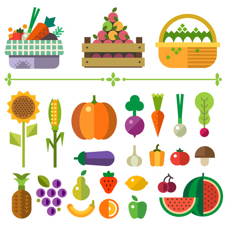 Basket with fruits and vegetables. Farm. Elements and sprites. Carrot pumpkin onion tomato pepper pineapple cherry banana grapes apple pear. Vector flat illustrations Vettoriali