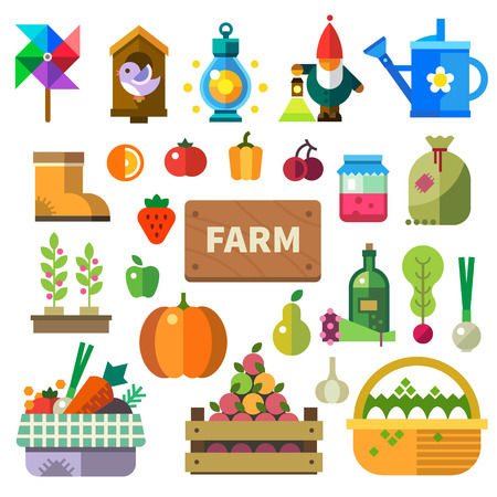 lamp: Farm in the village. Elements and sprites: basket with fruits and vegetables eggs jam bottle with oil tools lamps watering can birdhouse. Vector flat illustrations
