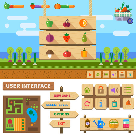 game design: Farm in the village. Wooden User Interface for game: basic controls menus popup windows icons