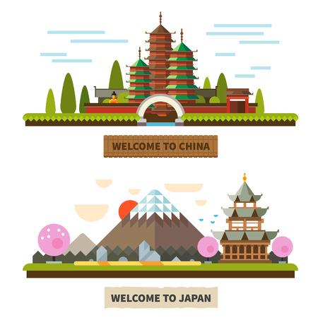 일본과 중국에 오신 것을 환영합니다. 사원과 후지산 풍경. 벡터 평면 그림 일러스트