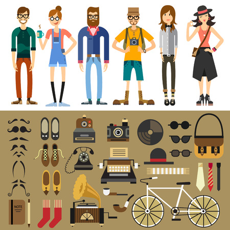People characters: hipster tourist photographer teen men women. Fashion style: mustache beard retro phone typewriter camera notebook shoes tie bag bicycle. Vector flat illustration