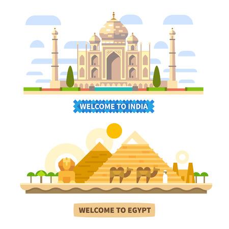 인도와 이집트에 오신 것을 환영합니다. 사원과 피라미드. 벡터 평면 풍경 그림